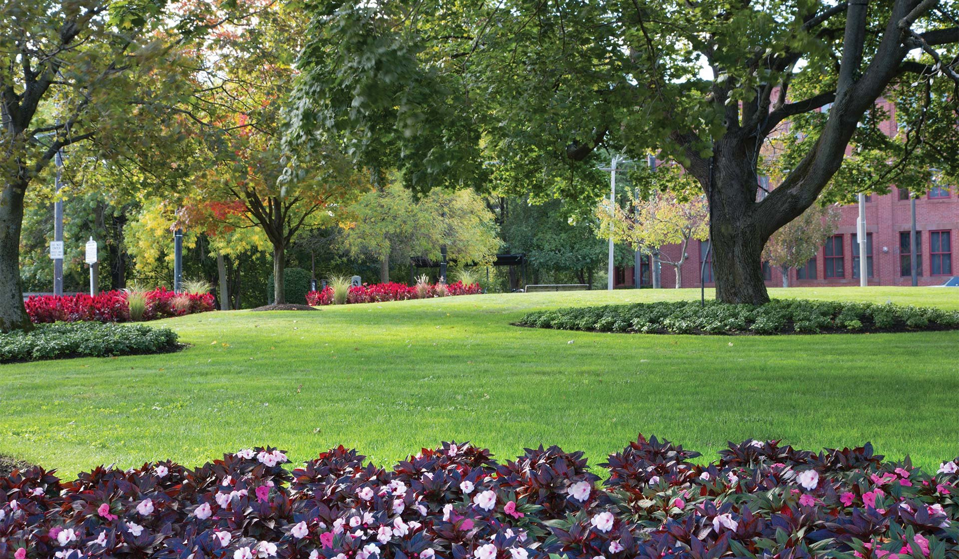 Charles Bank Apartments - image of a landscaped lawn with trees and flowers - Waterown, massachusetts